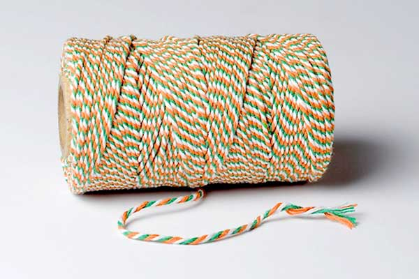 bakers twine tricolour irish white green and orange